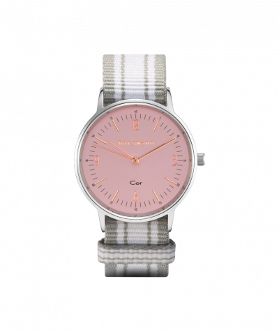 Bergmann Uhr Cor,Textil+rosa Zifferblatt