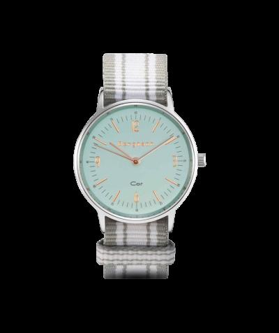 Bergmann Uhr Cor,Textil+blaues Zifferbl.