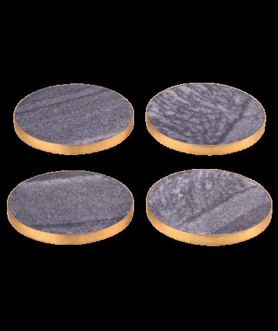 Marmoruntersetzer,Stone 4erSet schw/gold